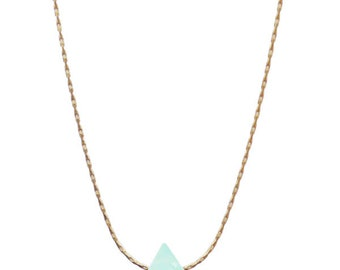 Light green crystal necklace gold or silver plated