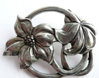 Vintage Flower Floral Pewter Brooch Seagull Pewter Canada
