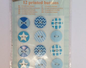 Sky blue buttons print geometric, 12 Board, sewing, scrapbooking, decoration