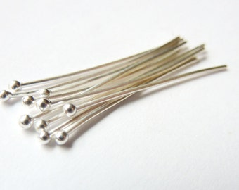 10pcs - Silver Headpins - 28 Gauge - Pick Your Length - Tagt Team
