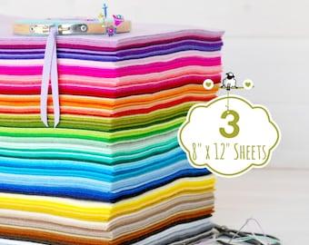 """100% Wool Felt Sheets - 3 Sheets of 8"""" X 12"""" - Merino Wool Felt Sheets - 3 Wool Felt Sheets - Pure Wool Felt - Choose your Colors"""