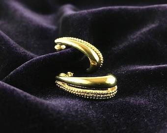 Vintage Monet 90's Textured Golden Drop Statement Stud Earrings