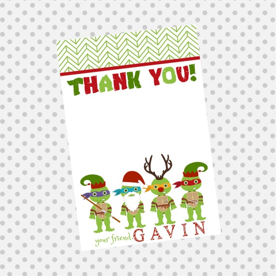 TMNT X-Mas Thank You Cards - Teenage Mutant Ninja Turtles Party - Party Supplies