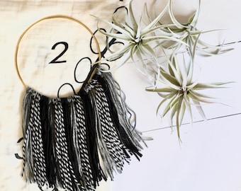 Mini Boho Wreath in Black and Gray - Milestone Blanket Wreath - Month Marker - Dream Catcher - Baby Shower Gift - Grapevine Wreath