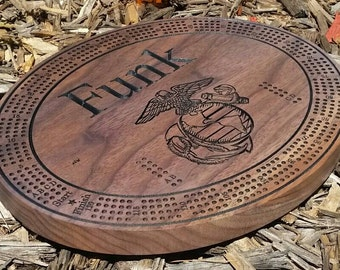 Personalized Engraved Black Walnut Cribbage Board. Large Round Board with Name and Image Engraving.