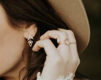 Alaska white triangle drop earrings
