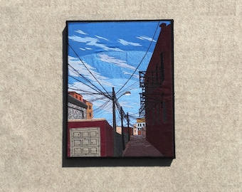 On Any Ordinary Day, 14x18 inches, original sewn fabric artwork, handmade, freehand appliqué, ready to hang canvas