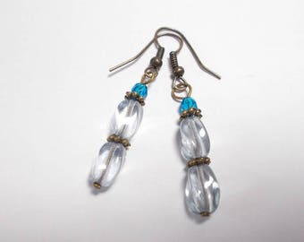 Bohemian blue glass beads and blue dangling earrings