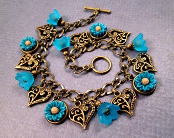 Flower and Heart Charm Bracelet, Blue Daisies and Tulips, Brass Beaded Bracelet, FREE Shipping U.S.