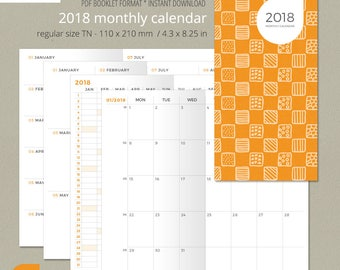 Regular size Monthly Planner 2018, Printable Travelers Notebook Insert, Midori inserts, Fauxdori inserts, Printable planner, FIRE ORANGE