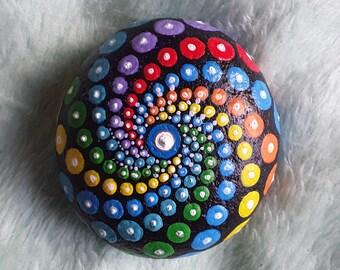 Dotillism art - Spiral Mandala Stone