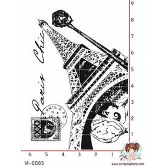 SCR117 rubber stamp to fashion eiffel tower pattern