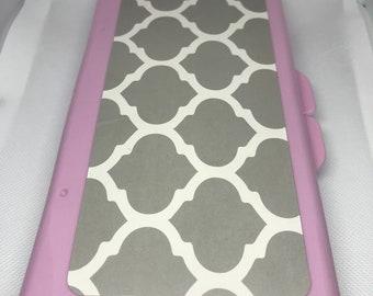 Custom name, pink baby diaper wipe case