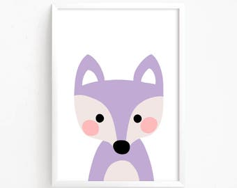 Sale 50% Off - Cute Fox Poster kawaii baby Printable art kids room wall art Print Animal illustration for boys nursery art children poster