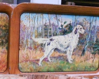 3 VINTAGE DOG TRAYS, metal, prints, 1940, scuffy patina, great collectible, decor, display