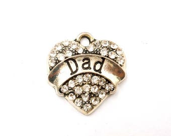 1 Antique Silver Dad Heart Charm With Clear Rhinestones - 27-15