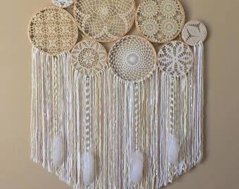 Large Crochet Dream Catcher Wall Hanging, Doily Dream Catcher, Boho Farmhouse, Dorm Decor, Crochet Wall Art, Bohemian Bedroom, Home Decor