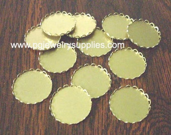 18mm round brass lace edge cameo cabochon settings 12 pieces l X N