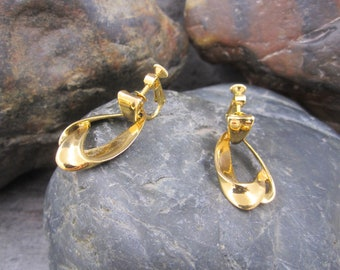 Gold plated dangle screw back clip style earrings