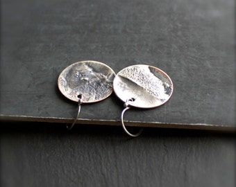 Rustic Round Disk Earrings - No. 1, Reticulated Sterling Silver on Copper, 19mm, Drop Earrings, Dangle Earrings, Metalwork Jewelry