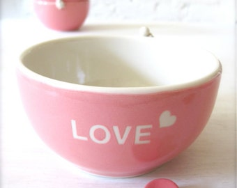 Love Heart Angel Pink Bowl with Heart Cutlery Rest Set