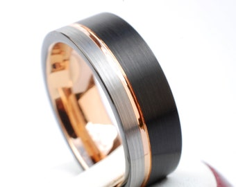 Tungsten Ring Rose Gold Men Wedding Band Black and Grey Brushed Design 8MM Sizes 6 to 14 Great Anniversary Engagement Any Special Gift