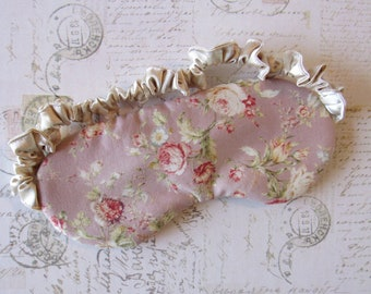 Rose Cottage Sleep Mask in Mauve, Taupe // Cotton & Satin Eye Mask