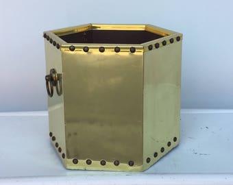 Vintage Brass Garbage Can - Small Wastebasket - Bathroom Trashcan - Hollywood Regency - Brass Tacks Gold Octagon Trash Bin Office Bedroom