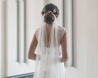 Draped veil - Wedding veil - Boho veil - Soft English tulle veil - Bridal veil
