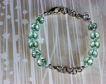 Sea Green Crystal and Silver Chain Bracelet