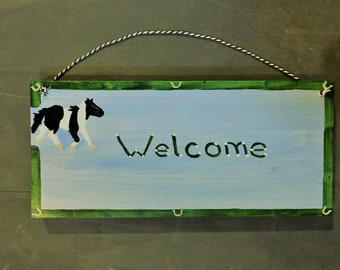 Welcome plaque with painted pony -  FREE SHIPPING
