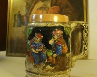 Vintage Beer Stein Peach Luster Blue Cobalt Mug Hand Painted 3D Relief German Ceramic Pottery Gold Gilt Silver Trim Mug Ma And Pa Village