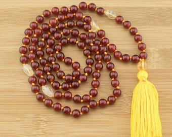 Hand Knotted Carnelian Japa Mala Beads Necklace with Citrine | 8mm | 108 Buddhist Prayer Beads with Tassel | Free Shipping