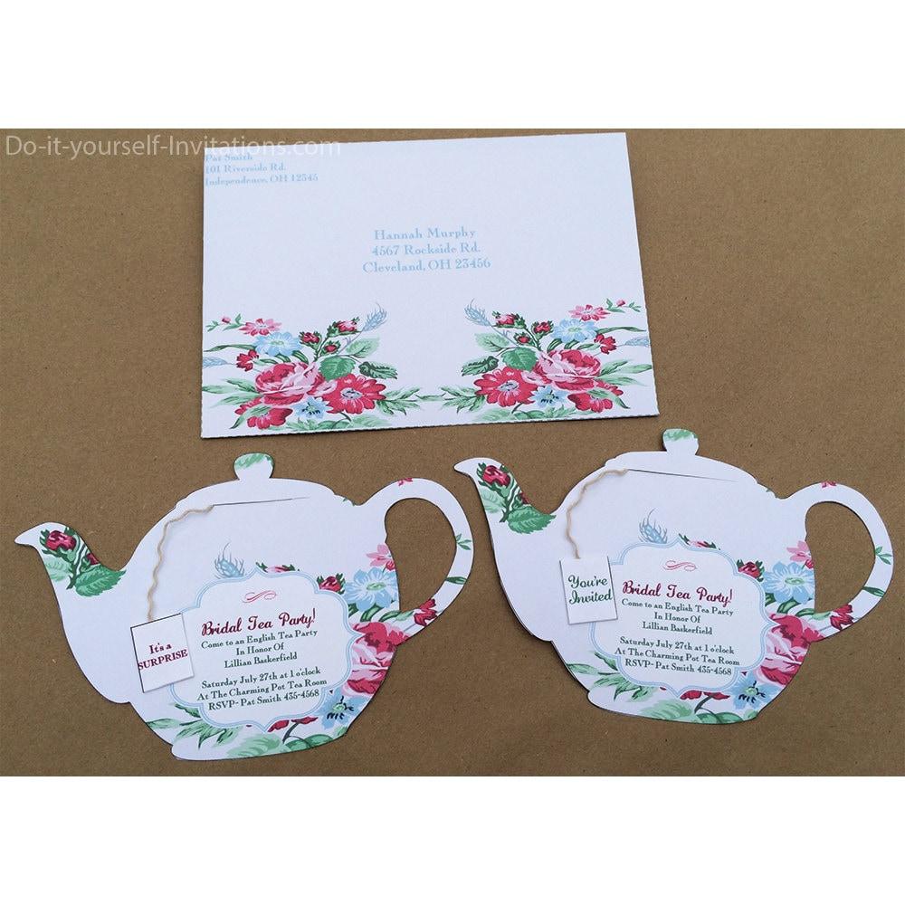 printable tea party invitation bridal tea party invitation. Black Bedroom Furniture Sets. Home Design Ideas
