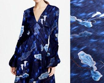 Big Floral Print Dark Blue Stretch Silk Satin Fabric Width 42 inch