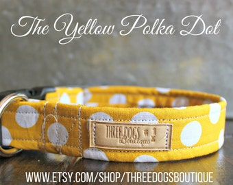 The Yellow Polka Dot Dog Collar