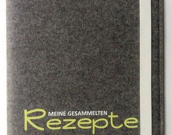 Recipe folder A4 from wool felt incl. recipe cards