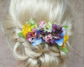 Bridal Hair Comb, Wedding Comb, Decorative Comb, Floral Wedding Comb, Wildflowers,  Babys Breath,  Rustic,  Outdoor Wedding,  Boho Chic Comb