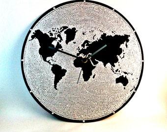 World map wall clock world map clock vinyl clock globe world map wall clock world map clock silver vinyl clock globe gumiabroncs Choice Image
