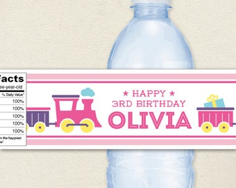 Pink Train Party - 100% waterproof personalized water bottle labels