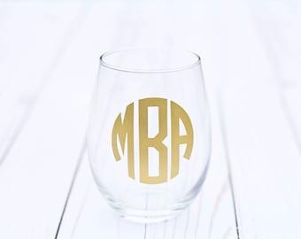 Personalized Wine Glass, Monogram Wine Glass, Wine Glass Personalized, Personalized Wine Glasses, Stemless Wine Glass, Custom Wine Glass