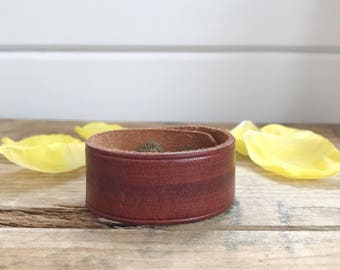 Upcycled Genuine Leather Brown Cuff