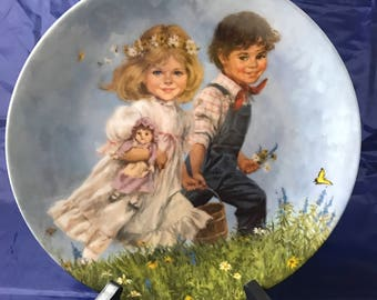 Jack & Jill 1986 Mother Goose Collectors Plate from Reco International - w/ Certificate - John McClelland - Victorian Childhood Decor
