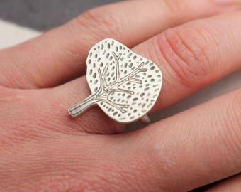 Rowan tree ring | Oxidised engraved silver ring | Tree ring | adjustable ring