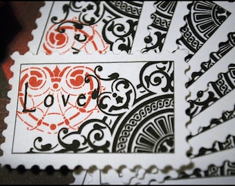 Love Postage Stamps Red White and Black Ephemera Scrapbooking Set of 10