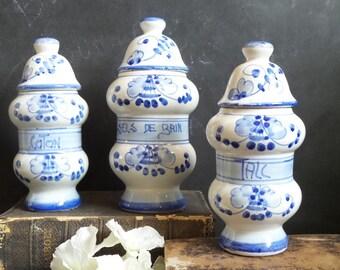 Vintage Apothecary Jars. French Vintage Hand Painted Ceramic jars. Bathroom storage and decor