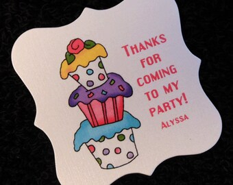 20 Personalized Birthday Party Favor Tags - Girls Birthday Favor Tags -  Cupcake Favor Tags - 2 x 2 Favor Tags