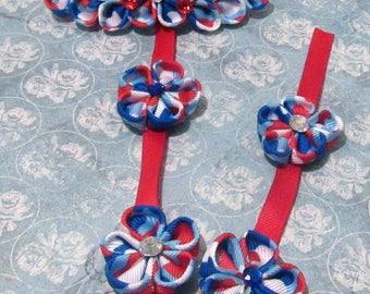 Red,White,Blue Kanzashi Braid Barrette