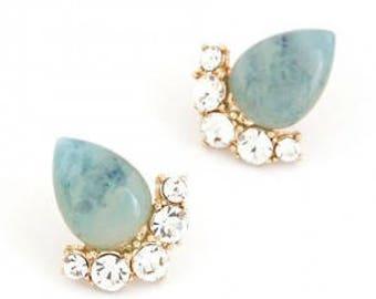 Teardrop Studs, Turquoise Studs, Marble Studs, Marble Earrings