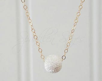 Silver Stardust Necklace, Silver Ball Necklace, Minimalist Necklace, Layering Necklace, Sterling Silver Stardust Necklace on Gold Chain